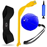 Amy Sport Golf Swing Training Aid Arm Band Trainer Impact Ball Inflator Assist Value 4 Pack, Posture Motion Correction Aids Set for Men Women Golfer Beginner Practice (4 Pack Blue)