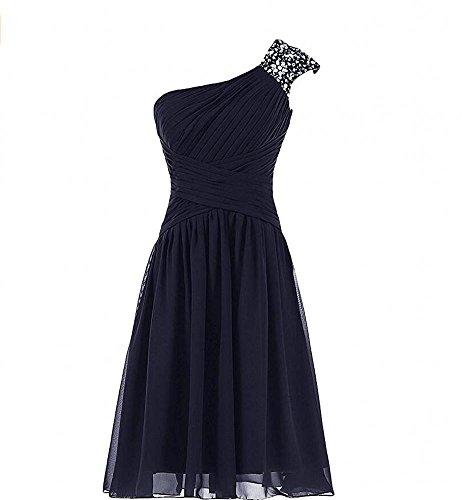 Beauty Short Dress Beading Chiffon Bridesmaid Shoulder AK Women s Navy One Crystal AU0qOd