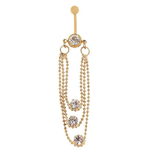 (Fashion Dangling Tassel Dazzing Rhinestone Crystal Navel Ring Piercing Belly (Main Colour - Golden))