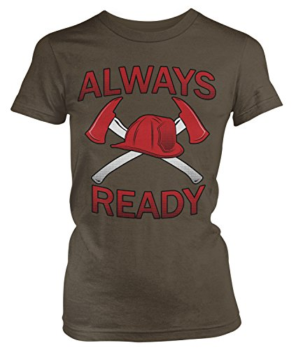 Junior Firefighter Badge (Amdesco Junior's Always Rescue Firefighter Axes Fire & Rescue T-shirt, Dark Chocolate Large)