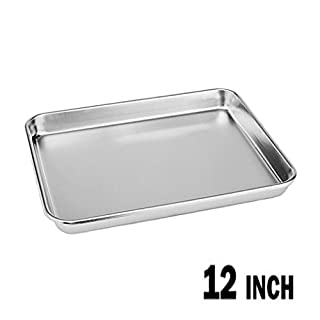 Neeshow Stainless Steel Compact Toaster Oven Pan Tray Ovenware Professional, 12.5'' x 9.75'' x 1'' , Heavy Duty & Healthy, Deep Edge, Superior Mirror Finish, Dishwasher Safe