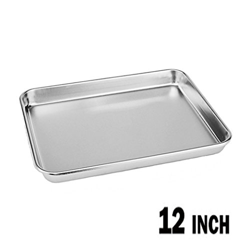Neeshow Stainless Steel Compact Toaster Oven Pan Tray Ovenware Professional, 12.5'' x 9.75'' x 1'' , Heavy Duty & Healthy, Deep Edge, Superior Mirror Finish, Dishwasher Safe by NEESHOW (Image #4)
