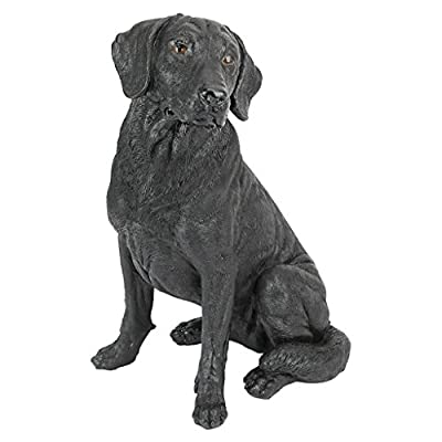 Design Toscano Black Labrador Retriever Dog Garden Statue, 15 Inch, Polyresin, Black