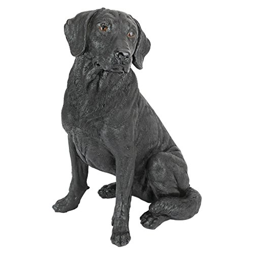 Design Toscano Black Labrador Retriever Dog Garden Statue, 15 Inch, Multicolored