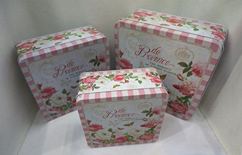 Pretty pink set of 3 multipurpose storage tins, shabby chic, with beautiful floral design