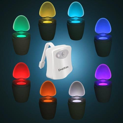 Eneston Motion Activated Toilet Night Light : Body Auto Motion Activated Sensor Colorful Nightlight with 8 Color Changing , Potty Light and Seat Toilet Bowl Light