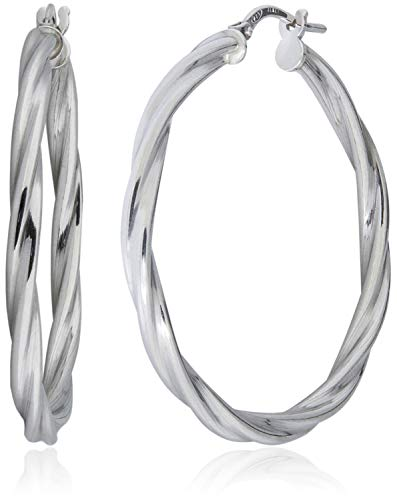 (SilverLuxe Sterling Silver Twisted Tube Hoop Earring 35mm Made in Italy)
