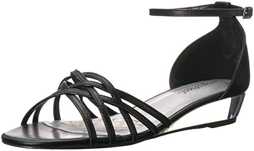 Easy Street Women's Tarrah Wedge Sandal, Black Patent Piping, 6.5 M - Leather Piping Patent