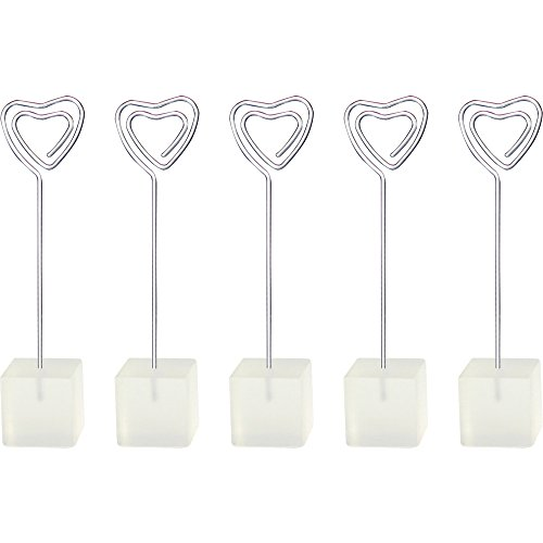10 Pieces, Clickstore Cube Heart Wire Standing Memo, Photo, Note, Card, Desk, Picture Clip Holders, Personalized, Customized Gift