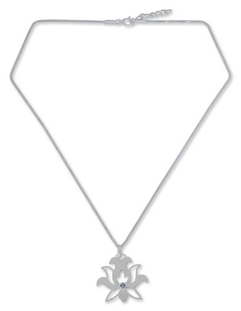 18 Lotus Purity NOVICA Blue Topaz .925 Sterling Silver Pendant Necklace