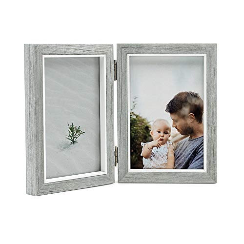 Afuly Double Picture Frame 4x6 Grey Wooden Hinged Photo Frames Folding Vertical 2 Openings Family Wedding Gifts