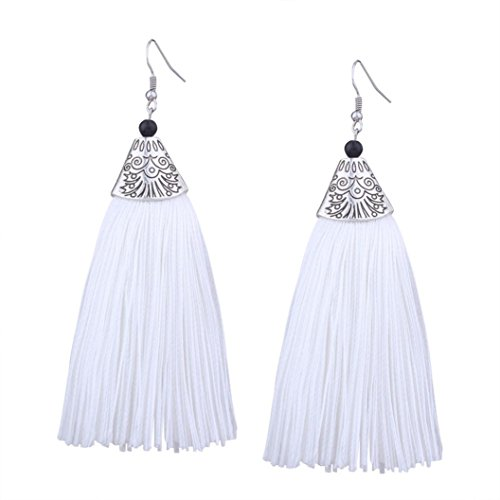 Flowers Jade Necklace - Earrings for Girls Women, Paymenow 2018 New Bohemian Tassel Drop Dangle Earrings Fashion Hook Dangle Jewelry (White)