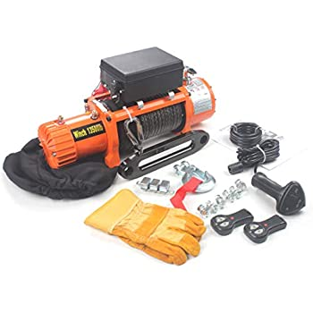 AC-DK 12V DC 13500 lb Synthetic Rope Electric Winch - Recovery Winch - Off Road Winch - 4x4 Winch - with Winch dust Cover and 2 Wireless remotes