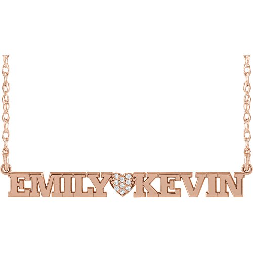Roy Rose Jewelry 14K Rose Gold with Diamond Couples Two Name Nameplate and Diamond Heart Customized Necklace by Roy Rose Jewelry
