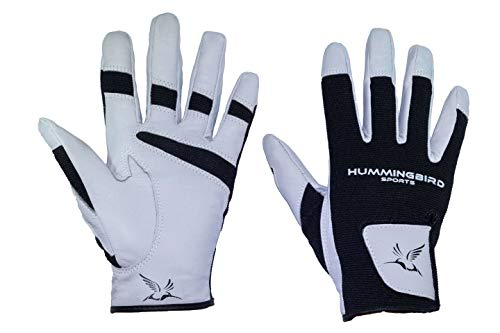 Hummingbird Sports Girls Leather Lacrosse and Field Hockey Gloves (Gray, Small)