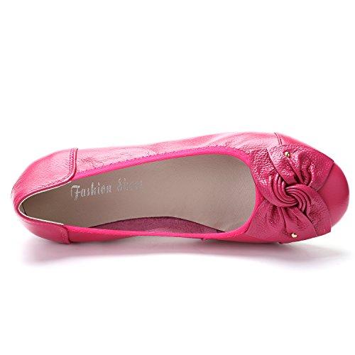 Odema Kvinners Skinn Slip Ons Loafers Flats Mokasiner Kjører Sko Lave Herresko 11colors Størrelse 6,5-9,5 Rosered