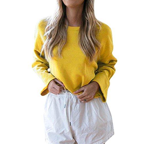 Sleevel T Dames Shirt Jaune Blouse Chic Long Chemise Casual Femmes Tops Trydoit xw4qgYpC