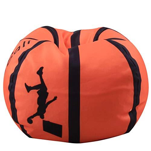 (Evoio Stuffed Animal Bean Bag Storage Family Large Kids' Toy Organizer & Comfortable Ball Bean Bag Chair Multipurpose Storage Bag 100% Cotton Premium Canvas (Basketball, 38)
