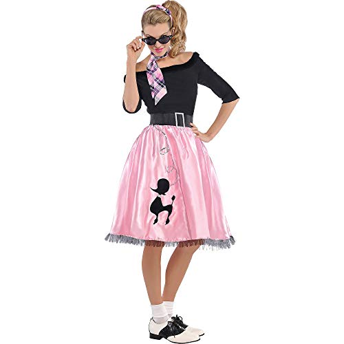 AMSCAN Sock Hop Sweetie 50's Halloween Costume for Women, Large, with Included Accessories -