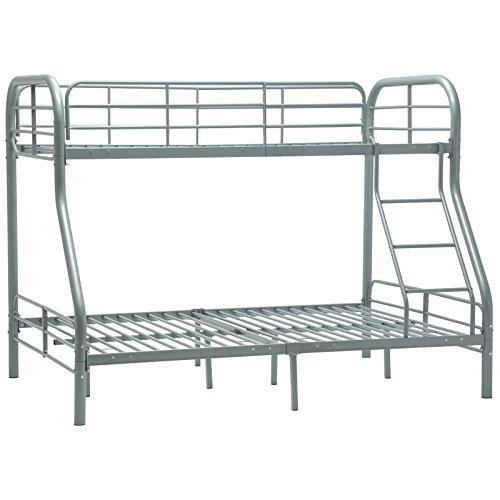 Kids Furniture Loft Beds - Mecor Twin over Full Metal Bunk Beds with Ladder for Kids Teens Adult Loft Bed Dorm Bedroom Furniture (Silver)