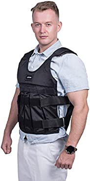 ZffXH Adjustable Weighted Vest Workout Exercise Boxing Training Fitness (Weights not Included)