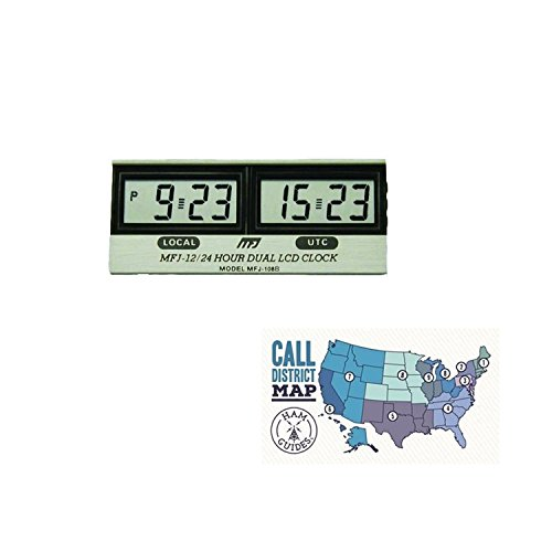 MFJ Clock, 12/24-hour, LCD, Dual and Ham Guides TM Pocket Reference Card Bundle