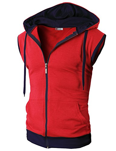 (H2H Men's Bodybuilding Athletic Sleeveless Hoodies Workout Muscle Gym Tank Tops RED US L/Asia XL (JNSK31))