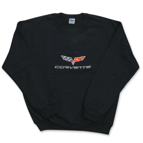 - West Coast Corvette Men's Corvette Sweatshirt Fleece Embroidered C6 Black X-Large