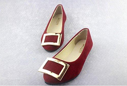 piatto Scarpe amp; pigro moda scarpe camminate tacco casual ginnastica CN40 dark ufficio casual comodità da red carriera scamosciata pelle LvYuan scarpe donna amp; da mocassini fzRqzd