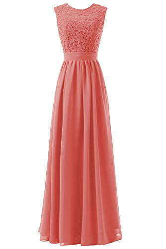 DYS Women's Lace Bridesmaid Dress Long Prom Party Dresses Sleevless Coral US 0 (Coral Invitations)