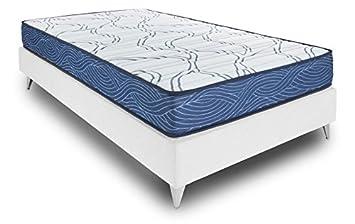 Bedland ▻ Colchón Viscoelástico Visco 5, Color Blanco y Azul (135cm x 190cm). Colchón inmejorable en relación Calidad Precio. ¡Cama Suave y Adaptable!: