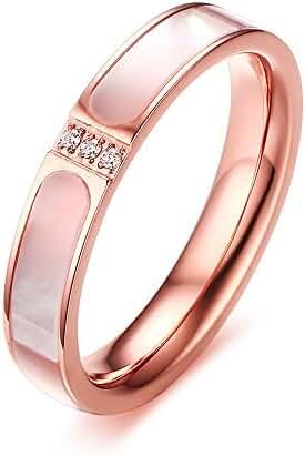 Weidan Jewels titanium steel Zircon Seashell Ring rose gold Fashion wild Ms Ring 24