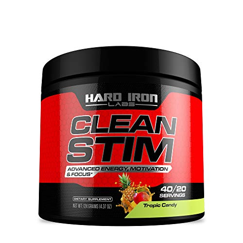 Clean Stim - Energy Formula - Advanced Energy, Motivation, Focus - Topic Candy Flavor - 40 Servings - Hard Iron Labs