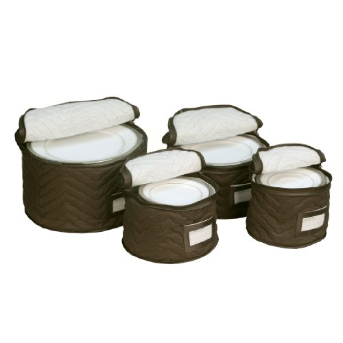 China Dinnerware Gravy (Richards Homewares 4 Pieces Fine China Dinnerware Plates Storage Set - Deluxe Quilted Plush Microfiber - Contents Label Window - Brown)