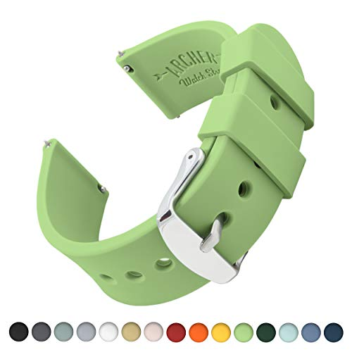 Archer Watch Straps Silicone Quick Release Soft Rubber Replacement Watch Bands for Men and Women (Tea Green, 22mm)