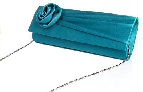 Demarkt Sac de Soiree pour les Femmes/ Pochette de Soirée avec Rose/ Couleur Vert
