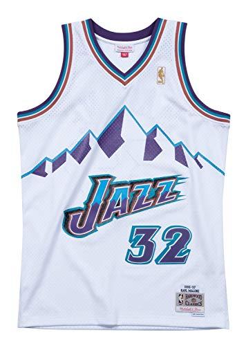 (Mitchell & Ness Utah Jazz Karl Malone White Swingman Jersey (Medium))