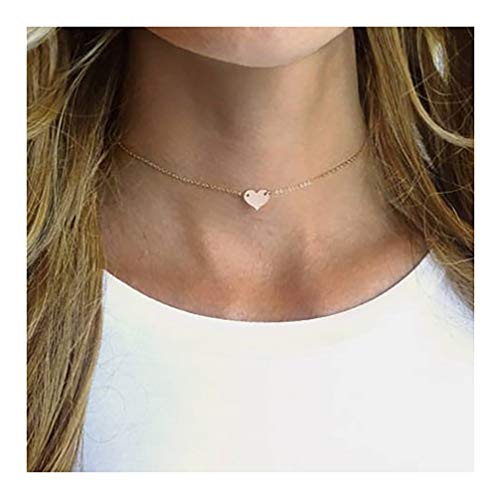 Gold Cute Tiny Heart Choker Necklace,18K Gold Plated Dainty Handmade Boho Simple Heart Shaped Minimalist Chain Simple Choker Necklace for Women
