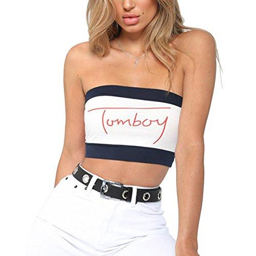 e4f6221e12 AZHONG Women s Sexy Off Shoulder Sleeveless Crop Tops Summer Print Strapless  Tube Top