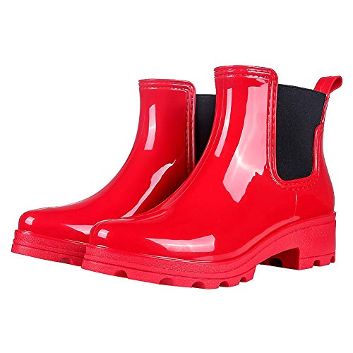 Red Shoe Womens Gloss (Colorxy Women's Rain Boots Platform Slip On Ankle Boots Elastic Short Chelsea Booties Rain Shoes Red)