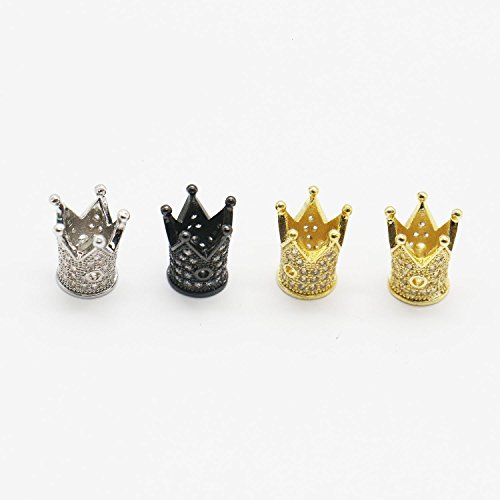 - HUELE 4 Pcs Pave Cubic Zirconia Diamond King Crown Shape Bracelet Connector Charm Beads Spacer