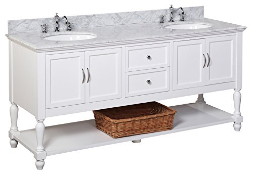 41lxeX2U5yL - Kitchen Bath Collection KBC6672WTCARR Beverly Bathroom Vanity with Marble Countertop, Cabinet with Soft Close Function and Undermount Ceramic Sink, Carrara/White, 72""