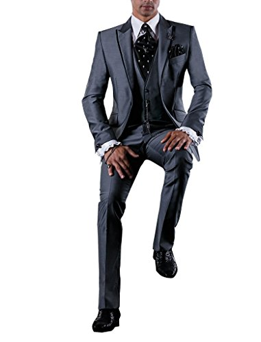 Suit Me Party Homme 3 pi¨¨ces Suit de mariage d'affaires Tuxedo Suits veste, gilet, pantalon gris 6XL