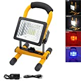 LETOUR LED Flood Light 15W Spotlights 1800Lumens Work Light Waterproof Outdoor Camping Security Lighting Portable Floodlight with USB Rechargeable (18650 Rechargeable Battery Included)