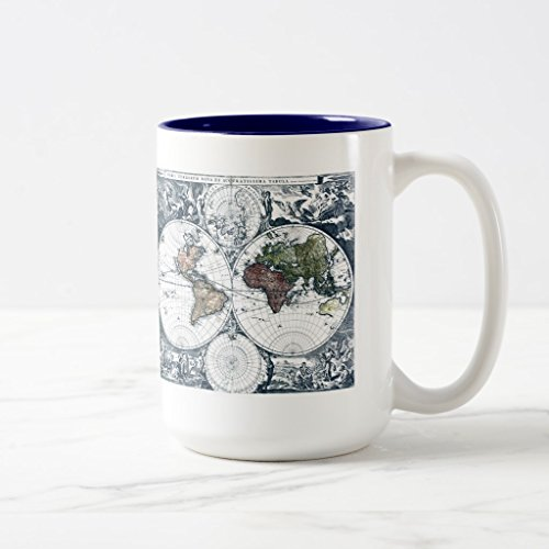 2 Tone Cartouche (Zazzle Vintage 1658 Nicolao Visscher World Map Travel Mug, Navy Blue Two-Tone Mug 15 oz)