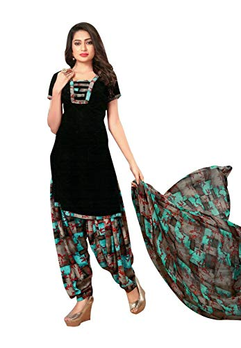 Ladyline Ready to Wear Faux Crepe Printed Salwar Kameez Suit Indian Dress (Size_42/ - Salwar Crepe Suit