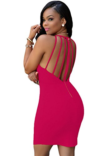New Damen Pink Riemchen offener Rücken Bodycon Mini Kleid Club Wear Party Wear Mini Kleid Sommer Kleid Größe S UK 8–10 EU 36–38
