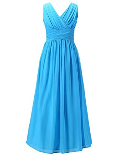 Happy Rose Flower Girl's Dress Party Dresses Juniors Long Bridesmaid Dress Aqua Blue - Juniors Aqua Dress