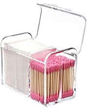 KW Collection Square Acrylic Cotton Ball Pads Gauze Swab Holder Organizer Q-tip Dispenser Storage Canister Bathroom Container Flossers Box Case (5.6x3.2x4.3 in, 1 Tier, 3 Partitions, Transparent)