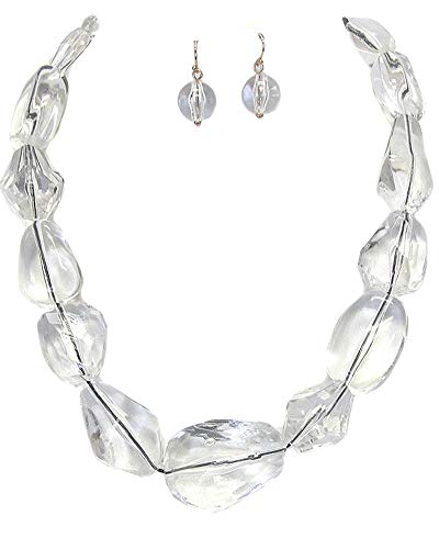 - Fashion Jewelry ~ Chunky Clear Lucite Beads Necklace and Earrings Jewelry Set (Clear)